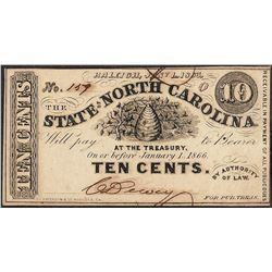 1863 State of North Carolina Ten Cents Obsolete Note