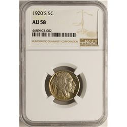 1920-S Buffalo Nickel Coin NGC AU58