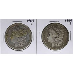 Lot of (2) 1884-S $1 Morgan Silver Dollar Coins