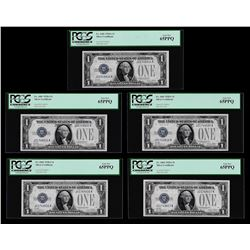 (5) Consecutive 1928A $1 Funnyback Silver Certificate Notes PCGS Gem New 65PPQ