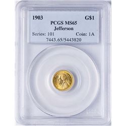 1903 $1 Jefferson Louisiana Commemorative Gold Dollar Coin PCGS MS65