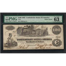 1862 $100 Confederate States of America Note T-39 PMG Choice Uncirculated 63EPQ
