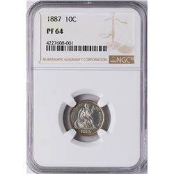 1887 Proof Seated Liberty Dime Coin NGC PF64