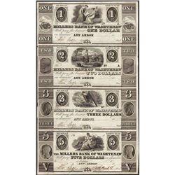 Uncut Sheet 1800's $1/$2/$3/$5 Millers Bank of Washtenaw, MI Obsolete Bank Note