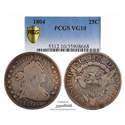 1804 Flowing Hair Quarter Coin PCGS VG10