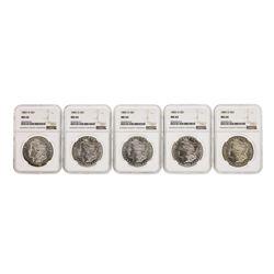 Lot of (5) 1883-O $1 Morgan Silver Dollar Coins NGC MS64
