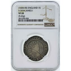 1604 England 1 Shilling James I Coin NGC VF20