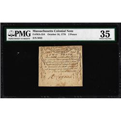 October 16, 1778 Massachusetts 2 Pence Colonial Currency Note PMG Choice Very Fi