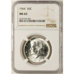 1964 Kennedy Half Dollar Coin NGC MS65