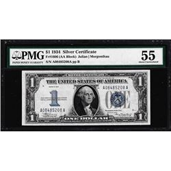 1934 $1 Funnyback Silver Certificate Note Fr.1606 PMG About Uncirculated 55