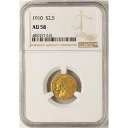 1910 $2 1/2 Indian Head Quarter Eagle Gold Coin AU58