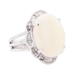 14KT White Gold 6.50 ctw Opal and Diamond Ring