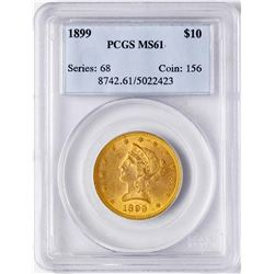 1899 $10 Liberty Head Eagle Gold Coin PCGS MS61