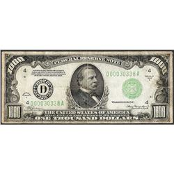 1934A $1,000 Federal Reserve Note Cleveland