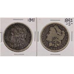 Lot of 1891 & 1892-S $1 Morgan Silver Dollar Coins