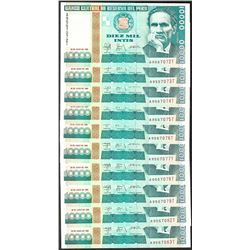 Lot of (10) 1988 Peru Diez Mil Intis Uncirculated Bank Notes