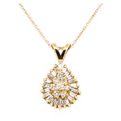 14KT Yellow Gold 0.50 ctw Diamond Teardrop Shaped Pendant with 14KT Rose Gold Ch