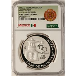 2005Mo Mexican Mint 470th Anniversary Silver Medal NGC PF69 Ultra Cameo
