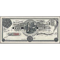 January 1897 $5 Kilpatrick Bros & Collins Obsolete Scrip Note