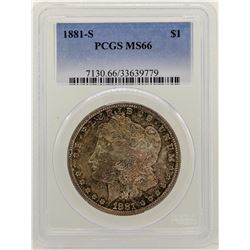 1881-S $1 Morgan Silver Dollar Coin PCGS MS66 AMAZING TONING