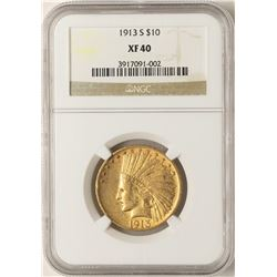 1913-S $10 Indian Head Eagle Gold Coin NGC XF40