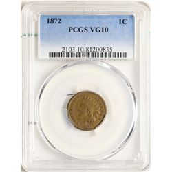 1872 Indian Head Cent Coin PCGS VG10
