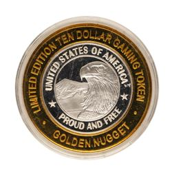 .999 Fine Silver Golden Nugget Las Vegas, Nevada $10 Limited Edition Gaming Toke