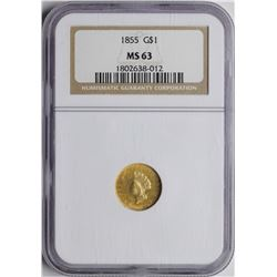 1855 $1 Indian Princess Head Gold Dollar Coin NGC MS63