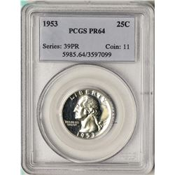1953 Proof Washington Quarter Coin PCGS PR64