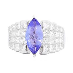 18KT White Gold 1.95 ctw Tanzanite and Diamond Ring