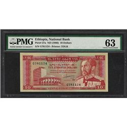 1966 National Bank Ethiopia 10 Dollars Note Pick# 27a PMG Chouce Uncirculated 63