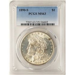 1890-S $1 Morgan Silver Dollar Coin PCGS MS63