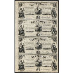 Uncut Sheet of 1800's $2 Ket Forint Obsolete Notes