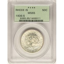 1936-S Rhode Island Commemorative Half Dollar Coin PCGS MS65 Old Green Holder