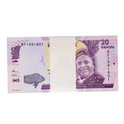 Pack of (100) Uncirculated 2016 Reserve Bank of Malawi 20 Kwacha Bank Notes