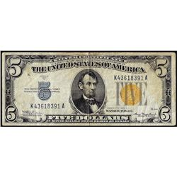 1934A $5 Silver Certificate WWII Emergency North Africa Note