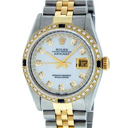 Rolex Mens Two Tone MOP String Diamond & Sapphire 36MM Datejust Wristwatch
