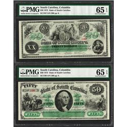 Matching Low Serial 1872 $20 & $50 South Carolina Obsolete Notes PMG Gem Unc. 65