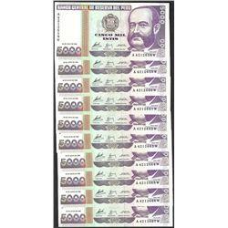 Lot of (10) 1988 Peru Cinco Mil Intis Uncirculated Bank Notes