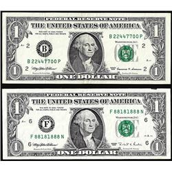 Lot of (2) $1 Federal Reserve Notes Fancy Serial Numbers