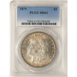 1879 $1 Morgan Silver Dollar Coin PCGS MS63 Amazing Toning