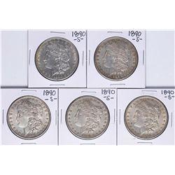 Lot of (5) 1890-S $1 Morgan Silver Dollar Coins
