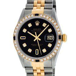 Rolex Mens Two Tone 14K Black Diamond & Sapphire 36MM Datejust Wristwatch