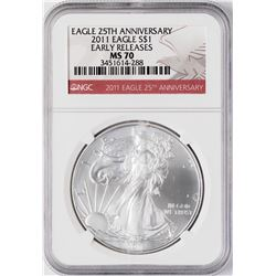 2011 $1 American Silver Eagle Coin NGC MS70 Early Releases