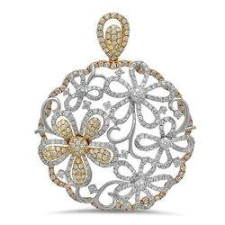 18k Two Tone Gold 6.52CTW Diamond Pendant, (SI1-SI2/G-H/Multi-Shaped)