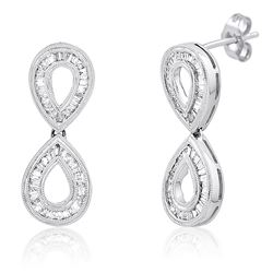 18k White Gold 1.12CTW Diamond Earring, (SI3 /H-I)