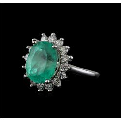 5.89 ctw Emerald and Diamond Ring - 14KT White Gold
