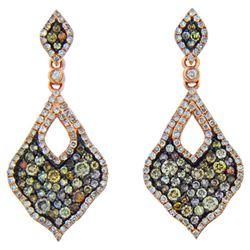 14k Rose Gold 1.69CTW Diamond and Multicolor Dia Earring, (I1/I)
