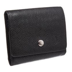 Louis Vuitton Black Taiga Leather Coin Purse Compact Wallet