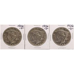 Lot of (3) 1926-D $1 Peace Silver Dollar Coins
